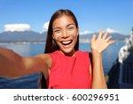 asian woman talking on video... | Shutterstock . vector #600296951