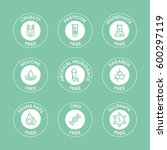 set of eco badges. free from... | Shutterstock .eps vector #600297119