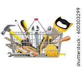 vector supermarket basket with... | Shutterstock .eps vector #600303299