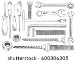 set of tools and fasteners....   Shutterstock .eps vector #600306305