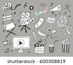 hand drawn cinema doodle icons... | Shutterstock .eps vector #600308819