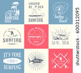 set of vintage surfing graphics ... | Shutterstock . vector #600312095