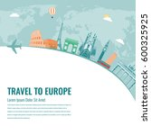 travel composition with famous... | Shutterstock .eps vector #600325925