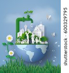 concept of eco and world water ... | Shutterstock .eps vector #600329795