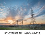 landscape with high voltage... | Shutterstock . vector #600333245