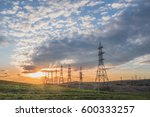 landscape with high voltage... | Shutterstock . vector #600333257