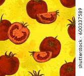 seamless pattern of tomato.... | Shutterstock .eps vector #600337589