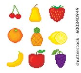 fruits icons set. pixel art.... | Shutterstock .eps vector #600340949