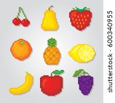 fruits icons set. pixel art.... | Shutterstock .eps vector #600340955