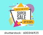 super sale vector banner 50 ... | Shutterstock .eps vector #600346925
