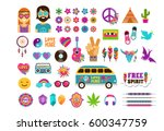 hippie  bohemian design with... | Shutterstock .eps vector #600347759