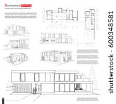 blueprint drawing of 3d... | Shutterstock .eps vector #600348581