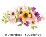 flowers watercolor illustration.... | Shutterstock . vector #600355499