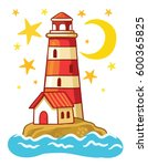vector  lighthouse. island in... | Shutterstock .eps vector #600365825