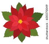 christmas poinsettia flower | Shutterstock .eps vector #600370049