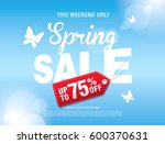 spring sale poster  vector... | Shutterstock .eps vector #600370631