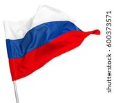 Small photo of Russia flag waving on white background