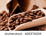 closeup of coffee beans... | Shutterstock . vector #600376034