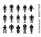 set of black robot characters
