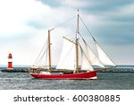 Sailing Ship On The Sea. Red...