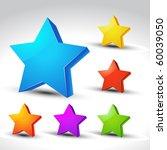 colorful 3d star elements set