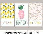 set of pineapple cards.... | Shutterstock .eps vector #600403319