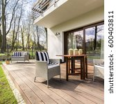 big wooden cozy porch with... | Shutterstock . vector #600403811