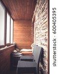cabin lodge interior in vintage ...   Shutterstock . vector #600405395