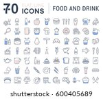 set  line icons drinks  meal... | Shutterstock . vector #600405689