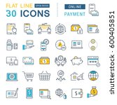 set  line icons in flat design... | Shutterstock . vector #600405851