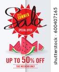 summer sale poster vector | Shutterstock .eps vector #600407165