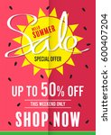 summer sale poster vector | Shutterstock .eps vector #600407204
