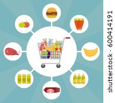 full shopping cart with food... | Shutterstock . vector #600414191