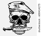 army skull with knife in the... | Shutterstock .eps vector #600414275