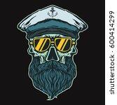 ship captain skull with glasses ... | Shutterstock .eps vector #600414299