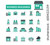 business buildings icons  | Shutterstock .eps vector #600422159
