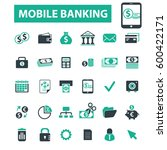 mobile banking icons  | Shutterstock .eps vector #600422171