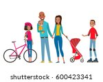 big happy family in the park.... | Shutterstock .eps vector #600423341
