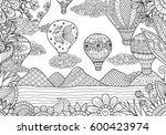 line art design of hot air... | Shutterstock .eps vector #600423974