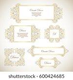vector set gold ornamental ... | Shutterstock .eps vector #600424685