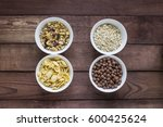 bowls of various cereals  from... | Shutterstock . vector #600425624