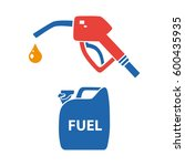fuel pump nozzle with drop and... | Shutterstock .eps vector #600435935