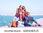 happy best friends traveling on ... | Shutterstock . vector #600438515