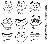 black and white cartoon funny... | Shutterstock .eps vector #600449087