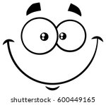 black and white smiling cartoon ... | Shutterstock .eps vector #600449165