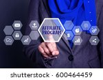 Small photo of Businesswoman pressing button on virtual screen wtih word Affiliate program