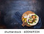 chicken kebab with vegetables... | Shutterstock . vector #600469334
