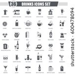 drinks black icon set. dark... | Shutterstock . vector #600478094