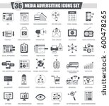 media adversiting black icon... | Shutterstock . vector #600478265
