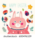 happy easter card. holiday... | Shutterstock .eps vector #600496109